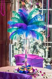 ostrich feather centerpiece with blue purple and turquoise feathers