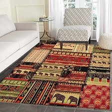 african print area rug patchwork style asian pattern with elephants and cultural ancient motifs print indoor outdoor area rug 3 x4 red green black
