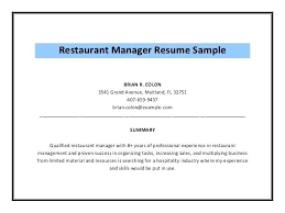 Hospitality Resume Sample Extraordinary Restaurant Management Resume Spacesheepco