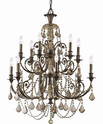 12 lights wrought iron crystal chandelier