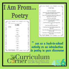 Poem About Curriculum Design I Am From Poetry The Curriculum Corner 4 5 6