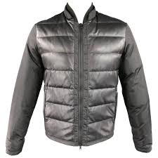 men s gucci 38 black leather nylon quilted down puffer jacket