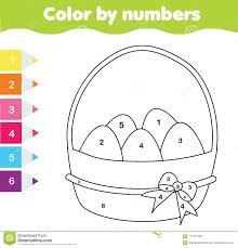 Easter Drawing Game Color By Numbers Printable Worksheet Coloring