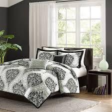 twin twin xl 4 piece black white damask print comforter set