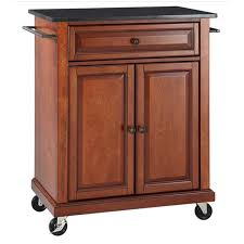 crosley furniture black granite top classic cherry kitchen cart