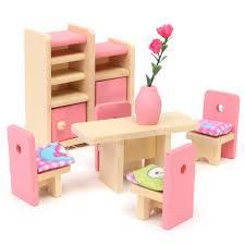 dolls furniture set. Wooden Delicate Dollhouse Furniture Toys Miniature For Kids Children Pretend Play 6 Room Set/4 Dolls Set I