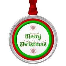 Merry Christmas - red and green 3-D look Silver-Colored Round Decoration