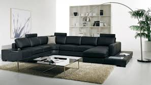 Leather Sectional Living Room Furniture T35 Modern Black Leather Sectional Living Room Furniture