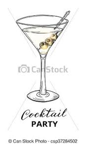 Glass Template Hand Drawn Cocktail In Martini Glass With Olives