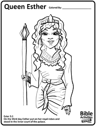 Printable Coloring Sheets Bible Stories Queen Esther Pages