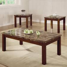 arden 3 piece marble look top coffee end table set