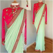 Full Length Blouse Designs Pastel Jaan Beautiful Pista Green Color Designer Saree And