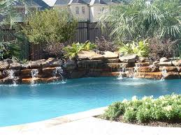 Rock Waterfalls Into Pools For Inground Pools