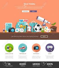 Web Design Flat Design Hobbies Website Template With Modern Flat Design Banner Header