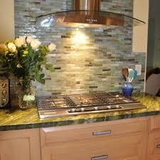 stone and pewter sumi e glass tile kitchen backsplash