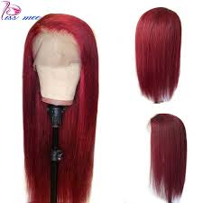 <b>Kissmee</b> 180% Density <b>99J Red</b> Short <b>13X4</b> Bob Lace Front Wig ...