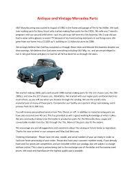Shop genuine and oem mercedes parts online! Calameo Antique And Vintage Mercedes Parts