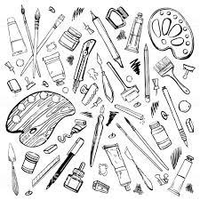 手描きスケッチのベクトル アーティスト材料のセットです黒と白には絵画