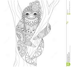 sloth zentangle design for coloring book for and other decorations
