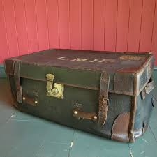 steamer trunk vintage luggage old travel trunk coffee table storage box 1 of 10