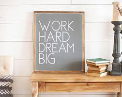wall decor for office. Office Wall Decor | Sign Work Hard Dream Big Art For O