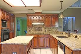 Mosaic Tile Kitchen Backsplash Kitchen Design With Light Beige Granite Countertops And Mosaic