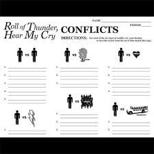 Roll Of Thunder Hear My Cry Symbolism Chart Roll Of Thunder Hear My Cry Conflict Graphic Analyzer 6 Types Of Conflict