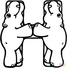 Small Picture Letter H is for Hippo Or Hippopotamus coloring page Free