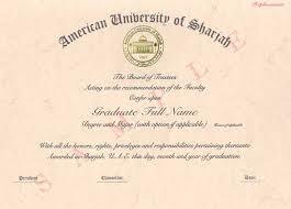 Sample Degree Certificates Of Universities Diplomas American University Of Sharjah