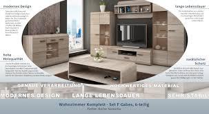 Wohnzimmer Komplett Set F Gabes 6 Teilig Farbe Eiche Sonoma