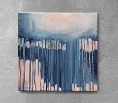 art small abstract navy blue and peach painting 12x12 original textured
