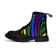 Mens Rainbows Size Chart Rainbow Gay Pride Zebra Mens Sizing Martin Boots Queer Lesbian Gay Pride Bi Pride Transgender