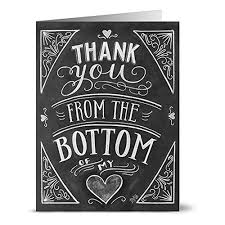 Chalkboard Thank You From The Bottom Of My Heart Note Card