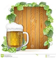 Hops For Decoration Beer Mug And Hops On A Wooden Background Stock Vector Image