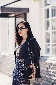halliedaily style street style ootd outfit what i wore spring style cropped leather jacket relaxed tee lace pencil skirt gianvito rossi strappy
