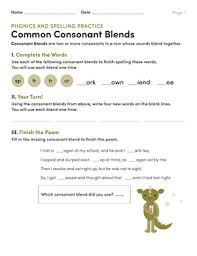 The consonant blends resources contain flashcards, game cards, worksheets, and handouts on beginning. Phonics And Spelling Practice Common Consonant Blends Worksheet Education Com