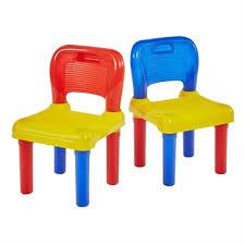 two mulitcoloured plastic chairs homebase