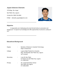 Einnehmend Resume For Ojt Im Looking Company Im Electronics