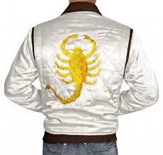 Drive Scorpion White Satin Bomber Jacket