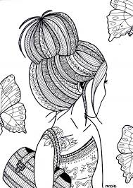 Colouring Pages Of A Girl Free Coloring Page For Adults Girl With