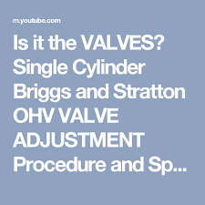 Is It The Valves Single Cylinder Briggs And Stratton Ohv