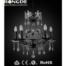 italy style biack iron flower crystal chandelier lamp