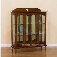 small wooden display cabinet with glass doors