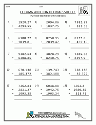 Adding Andting Decimals To Hundredths Horizontallytion Worksheets ...