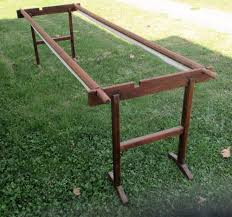 Hand Quilting Frames | eBay & Antique Primitive Wood Quilting Stand Wooden Quilt Frame for Hand Quilting  Bee Adamdwight.com