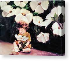 children flowers canvas print featuring the painting my secret garden by ellen lerner odonnell