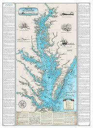Chesapeake Bay Maps Charts Laminated Shipwrecks Of The Chesapeake Bay Chart Nautical