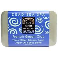 One with Nature, <b>Triple Milled Mineral Soap</b> Bar, French Green Clay ...