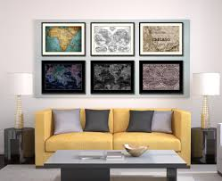 chicago illinois vintage sepia map home decor wall art bedroom