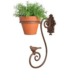 decorative flower pot holder with bird